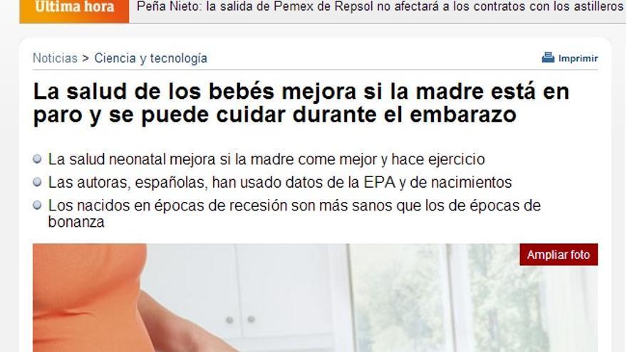 Imagen de la información de RTVE sobre un estudio que apunta las ventajas de estar embarazada y desempleada