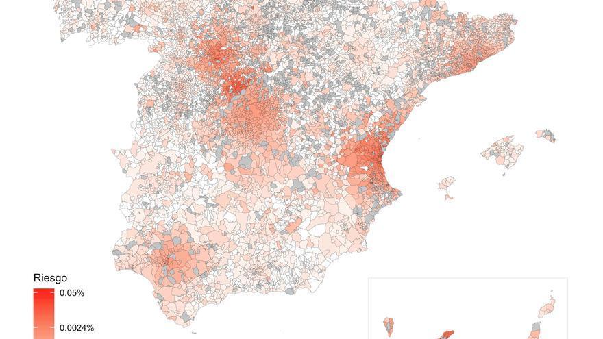 Mapa del riesgo de propagación del coronavirus en España, a 28 de febrero de 2020.