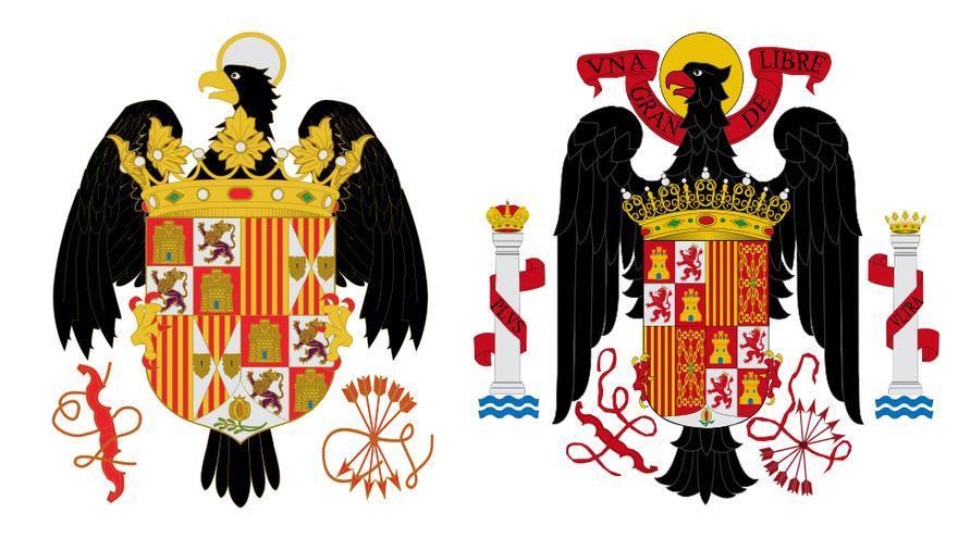 Escudo de los reyes católicos (izda) y de Franco (dcha,).