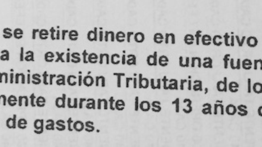 Fragmento del informe de la Agencia Tributaria sobre Bascuñana