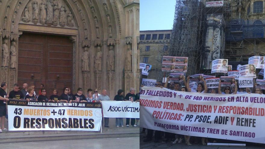 Protestas de las asociaciones de víctimas de Valencia y Santiago en imágenes divulgadas por ellas mismas
