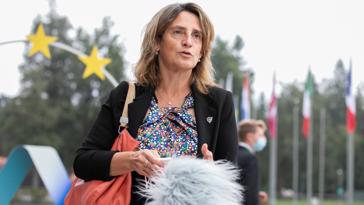 La vicepresidenta de Transición Energética, Teresa Ribera, a su llegada a Brdo (Eslovenia) para una reunión de ministros de Energía de la UE, el 22 de septiembre de 2021.
