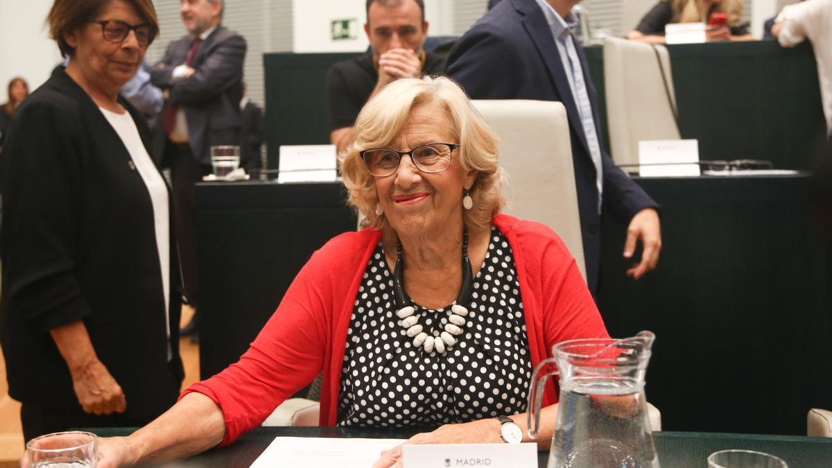 La exalcaldesa Manuela Carmena en la constitución de Ayuntamiento de Madrid en 2019.