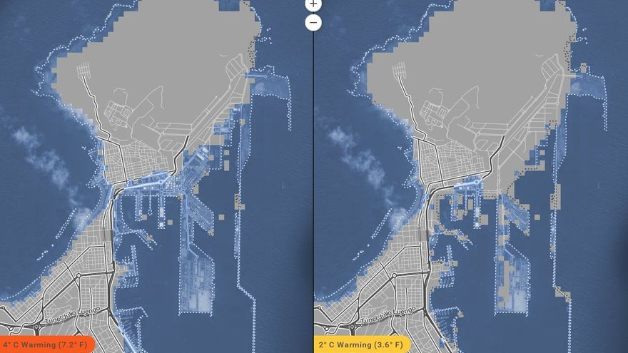 Vista de La Isleta en 2100 publicada por la revista científica Proceedings de la Academia Nacional de las Ciencias de Estados Unidos.