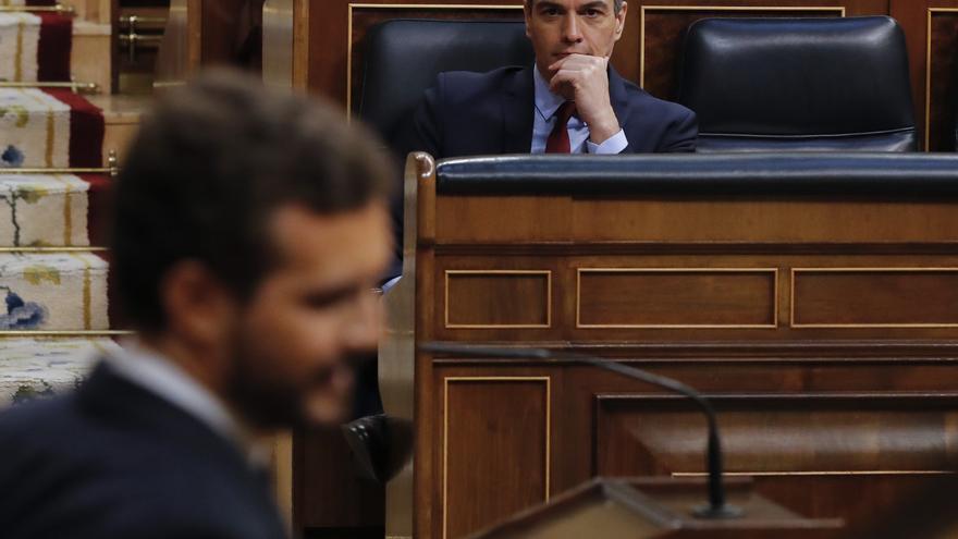 El presidente del Gobierno, Pedro Sánchez, asiste este miércoles al debate de la quinta prórroga del estado de alarma