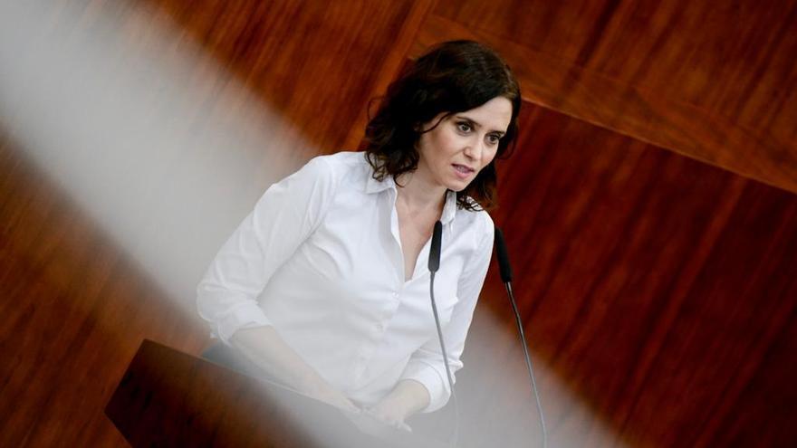 Isabel Díaz Ayuso en la tribuna durante su sesión de investidura. / PP