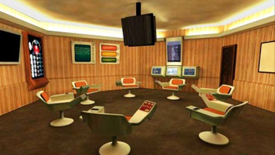 La sala de operaciones de Synco / Cybersyn  Foto: Copyright © Gui Bonsiepe