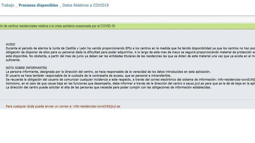 Correo remitido por la Gerencia de Servicios Sociales a los centros sociosanitarios de Castilla y León.