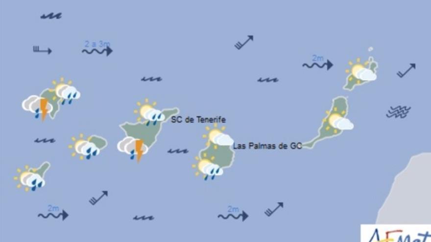 Mapa de la previsión meteorológica para el sábado 3 de diciembre