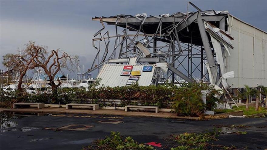 Vista de los daños causados por el huracán María a su paso por San Juan (Puerto Rico)