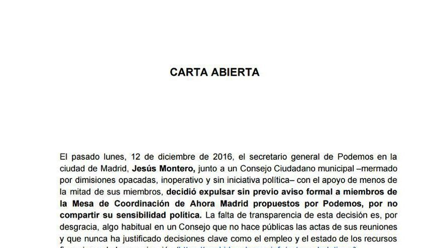Carta abierta de los militantes de Podemos