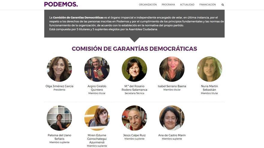 Miembros de la Comisión de Garantías Estatal de Podemos, según la web del partido.