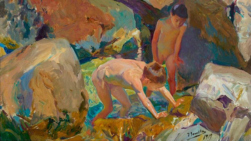 """""""Niños buscando mariscos"""" (1919), del pintor valenciano Joaquín Sorolla."""