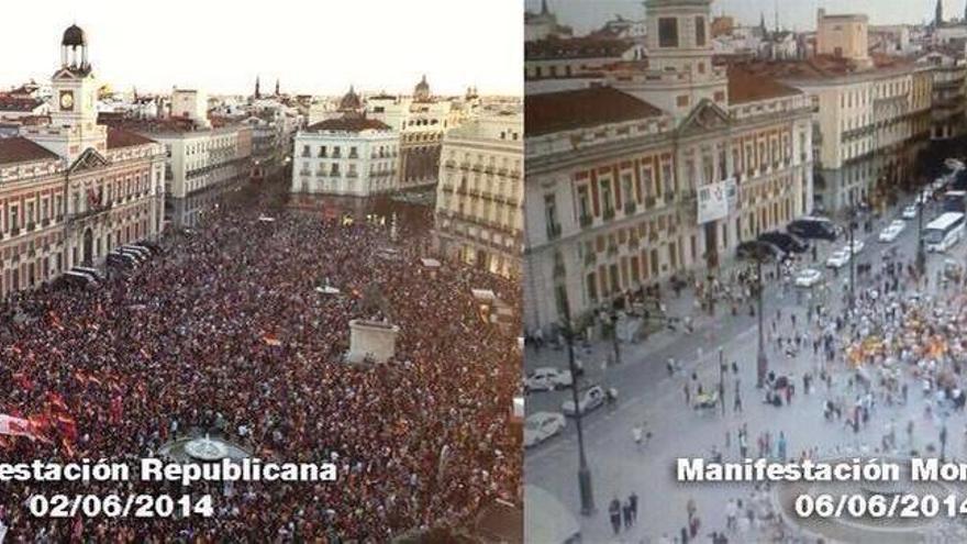 Manifestación republicana (Juan Luis Sánchez) / Manifestación monárquica (Skyline webcams)