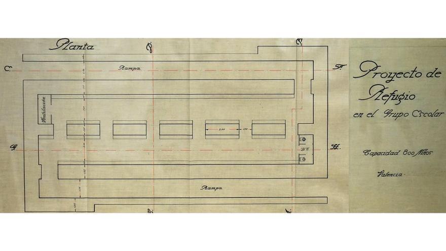 Plano-tipo del proyecto de refugio escolar que después se ajustaba a las condiciones del espacio