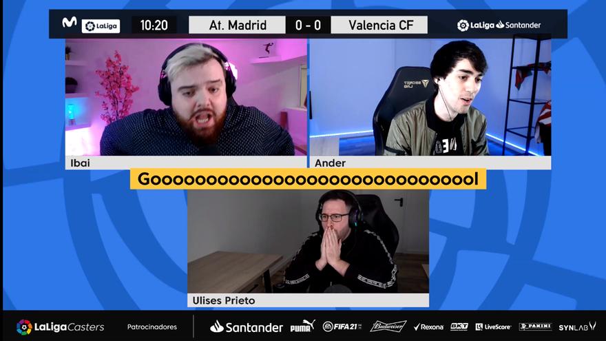 Ibai Llanos, Ander Cortés y Ulises Prieto, durante la narración del Atleti-Valencia