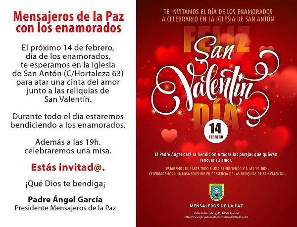 Invitación San Valentín 2018 en la Iglesia de San Antón