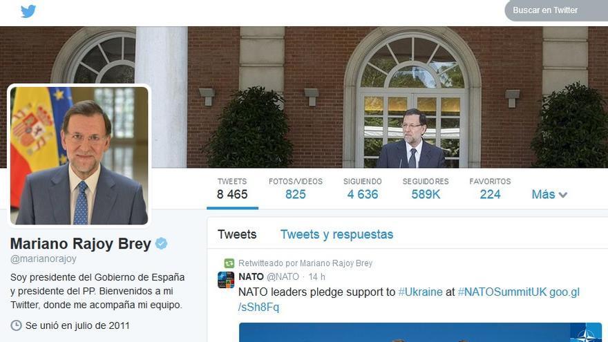 La cuenta de Mariano Rajoy en Twitter ha experimentado en las últimas horas un aumento espectacular de seguidores.