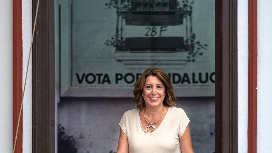 La secretaria general del PSOE-A, Susana Díaz, durante la entrevista con Europa Press