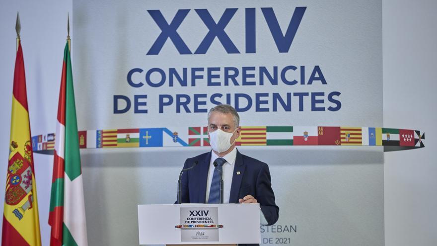 El Lehendakari, Iñigo Urkullu, ofrece una rueda de prensa en el Aulario del Convento de San Esteban posterior a la celebración de la XXIV Conferencia de Presidentes, a 30 de julio de 2021, en Salamanca, Castilla y León (España).