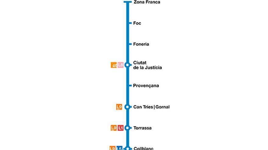 Mapa de la línia 10 de metro de Barcelona.