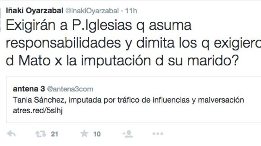 Iñaki Oyarzabal, sobre Pablo Iglesias, en Twitter