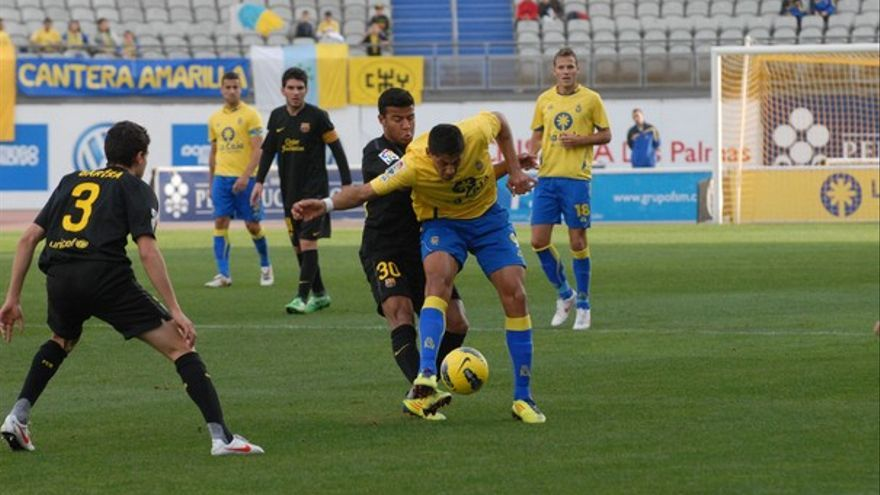 Imagen del encuentro de ida entre la UD y el Barcelona B (ACFI PRESS)l.