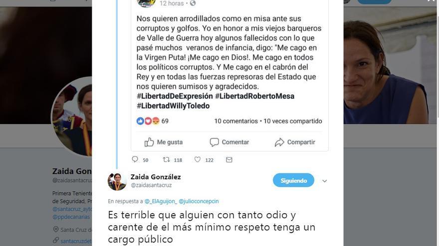 Pantallazo del mensaje en Twitter de la concejala del PP en Santa Cruz Zaida González