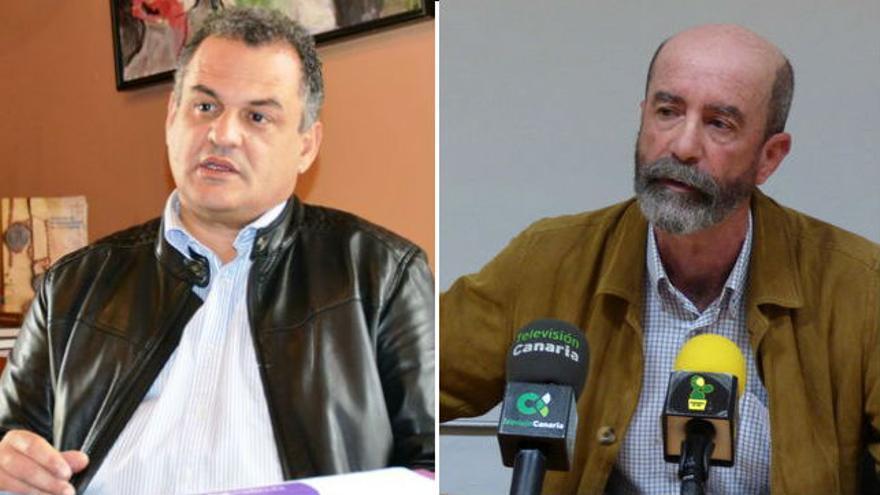 De izquierda a derecha: El alcalde de La Laguna, José Alberto Díaz y el concejal de Por Tenerife, Santiago Pérez.