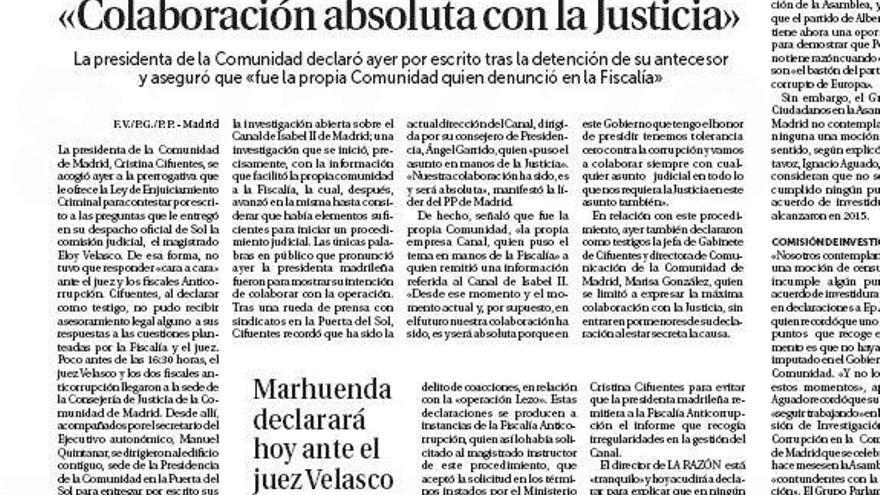 Página 16 'La Razón' 20/04/2017