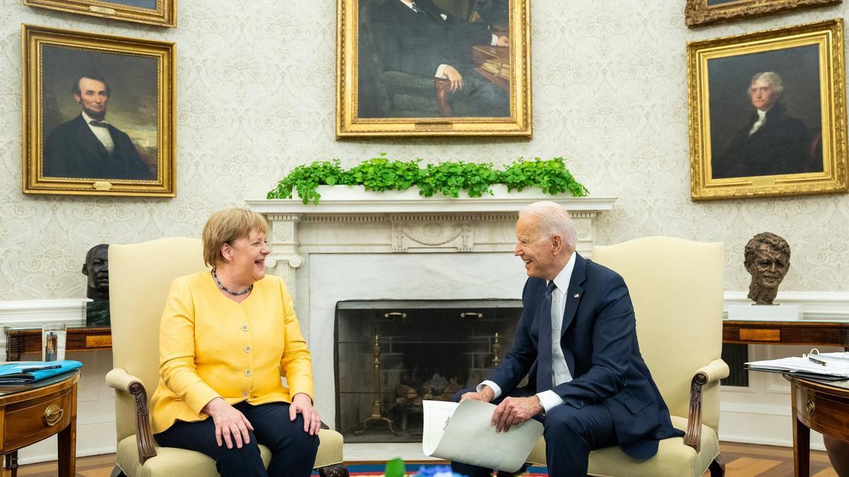 Biden se reunió con su par alemana, Angela Merkel.