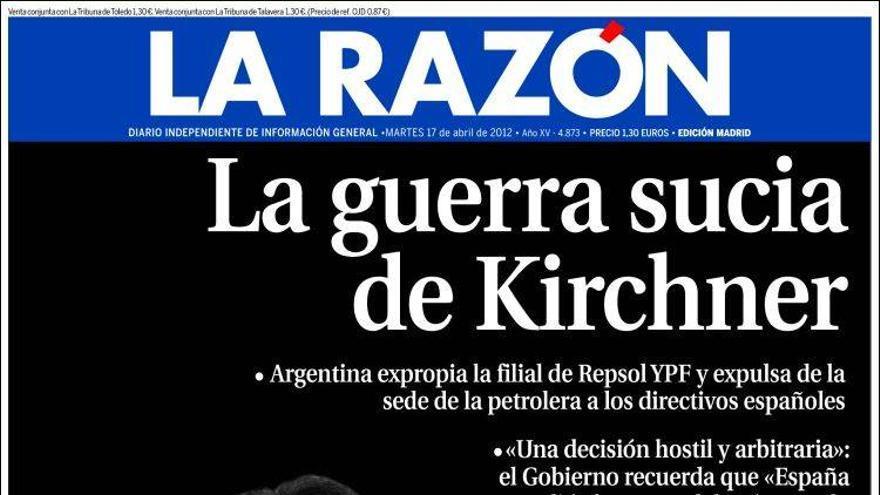 Portada de La Razón, 17 de abril de 2012.