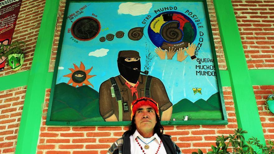 Domingo Ankuash, líder indígena ecuatoriano que lucha en su comunidad contra la acción de las empresas mineras, en San Cristobal de las Casas, Chiapas (México)/ Fotografía: Jaime Giménez