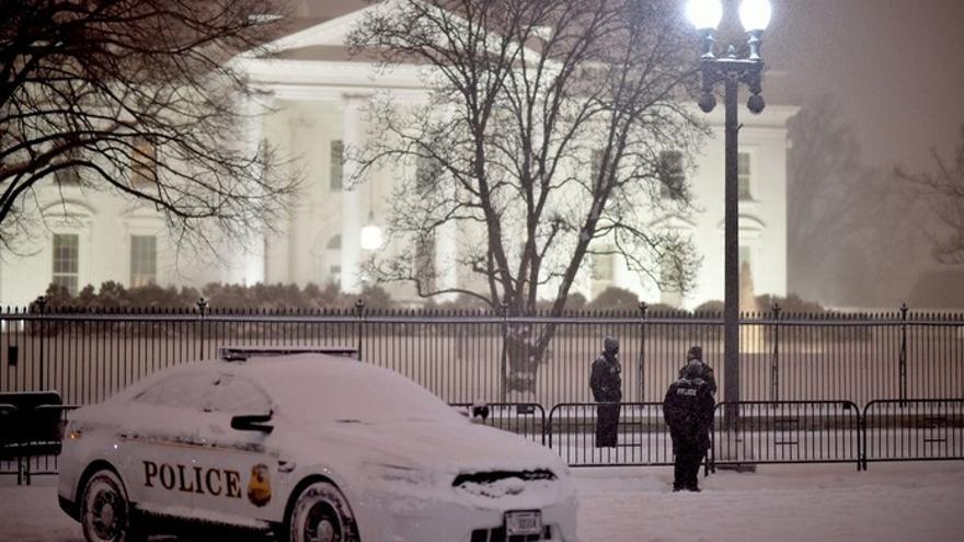 La Casa Blanca, en Washington, tras el paso de la tormenta Jonas.