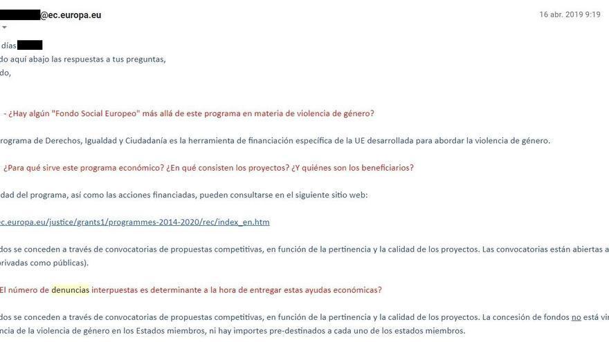 Captura de la correspondencia con la CE