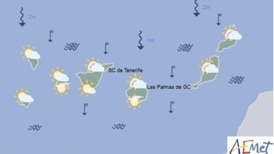Mapa del tiempo de la Aemet en Canarias para este martes, 23 de mayo de 2017.
