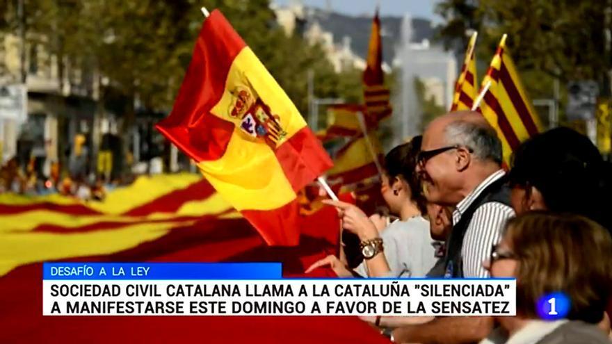 TVE informa de la manifestación contra la independencia y no de las convocatorias por el diálogo