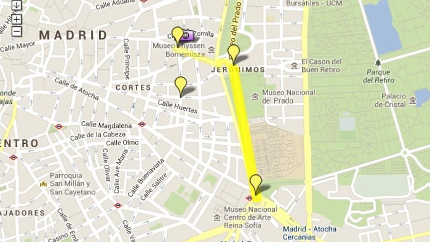 Mapa del recorrido completo de la manifestación en Madrid.