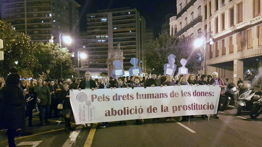 La cabecera de la manifestación con motivo del 8 de Marzo en Valencia