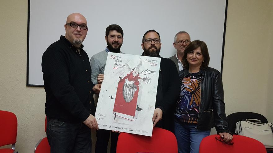 Carmen Amoraga, Ignacio Larraz, Jesús Figuerola, Miquel Ángel Giner y Julio Antonio Blasco presentando la feria del libro