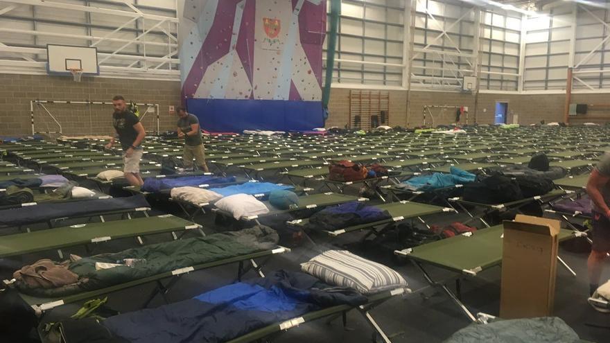 Pabellón deportivo en el que se alojarán agentes desplegados para el dispositivo policial organizado para la visita de Donald Trump a Reino Unido.