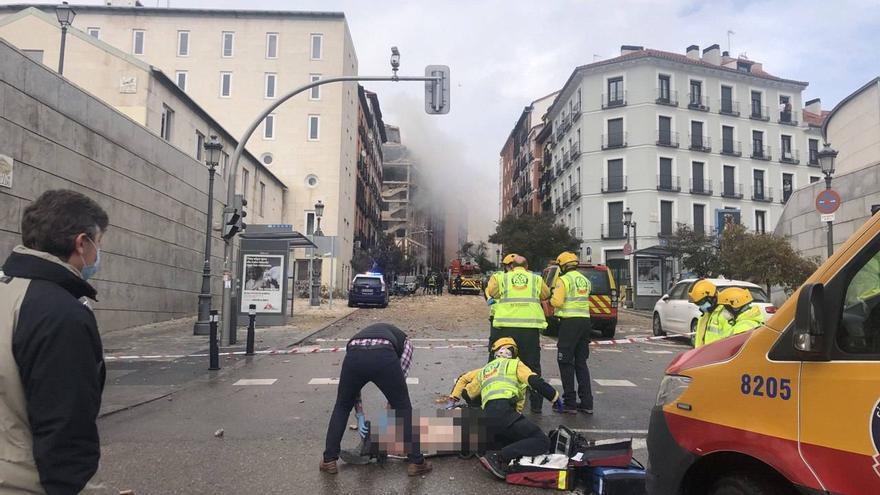 Una fuerte explosión destroza un edificio en pleno centro de Madrid