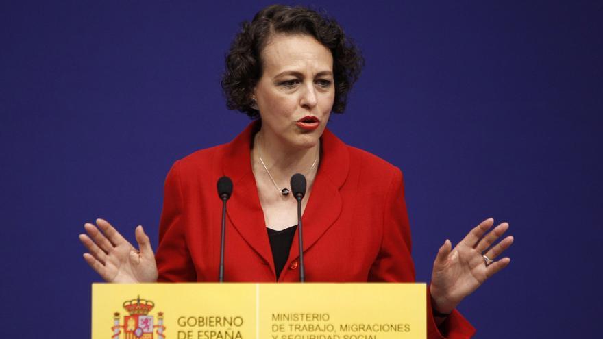 La nueva ministra de Trabajo, Migraciones y Seguridad Social, Magdalena Valerio, durante su intervención en el acto de la toma de toma de posesión de su cargo celebrado hoy en el Ministerio.