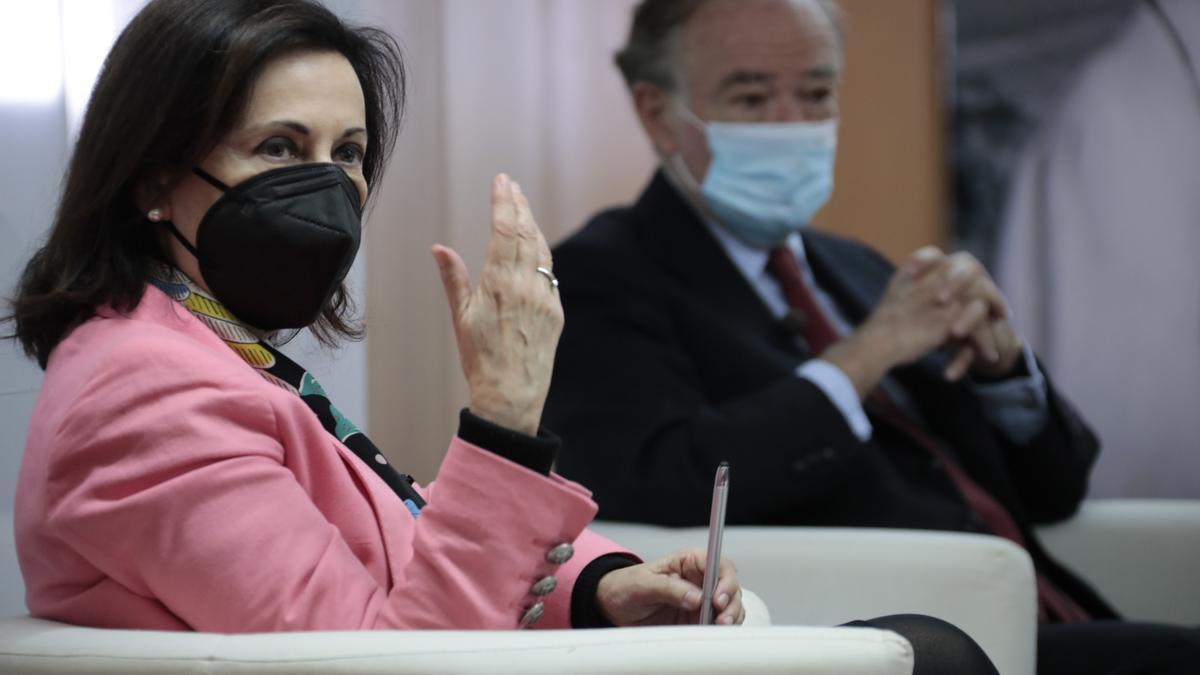 La ministra de Defensa, Margarita Robles, en un acto de la Fundación Ortega y Gasset