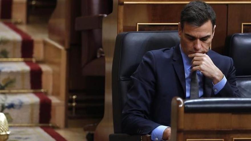 El presidente, Pedro Sánchez, en el Congreso.