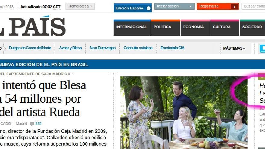 Captura del artículo en la portada de El País