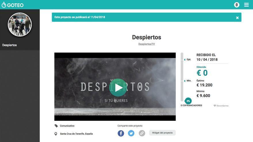 Vista de la campaña en la web de Goteo