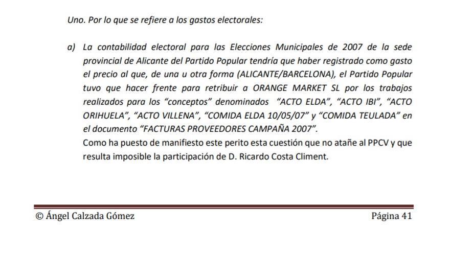 Extracto de la pericial de Ricardo Costa.