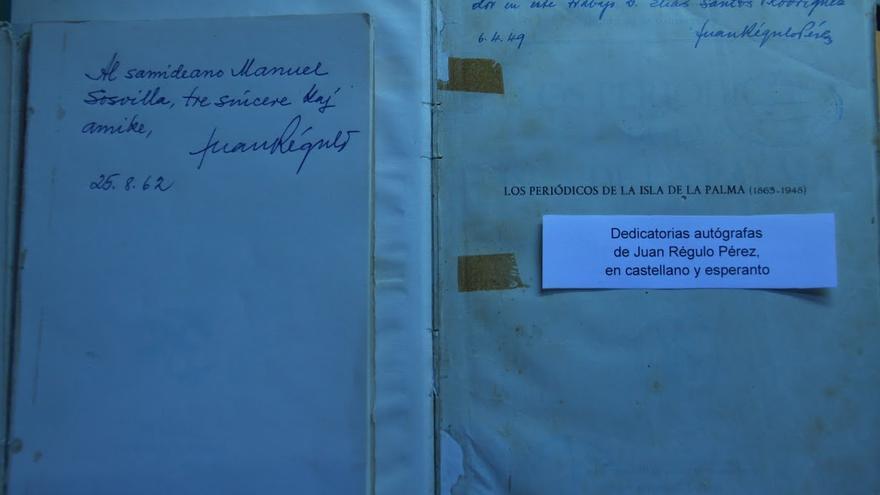 En la imagen, uno de los documentos sobre Juan Régulo que se exponen en Garafía. Foto: CECILIA RODRÍGUEZ