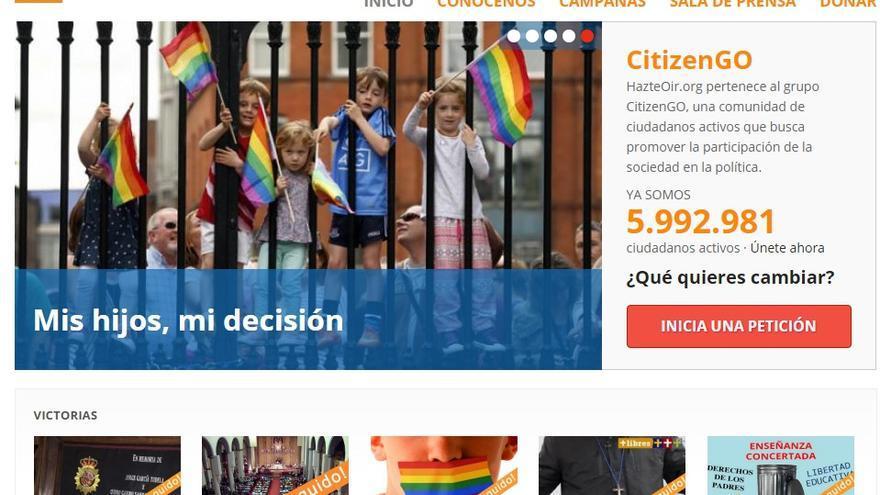 Captura de la web www.citizengo.org/hazteoir